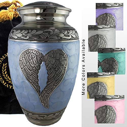 Loving Angel Wings - Blue and Silver - Funeral, Burial, Niche or Columbarium Cremation Urn for Human Ashes - 100% Brass - Adult, Large for $<!--$104.95-->