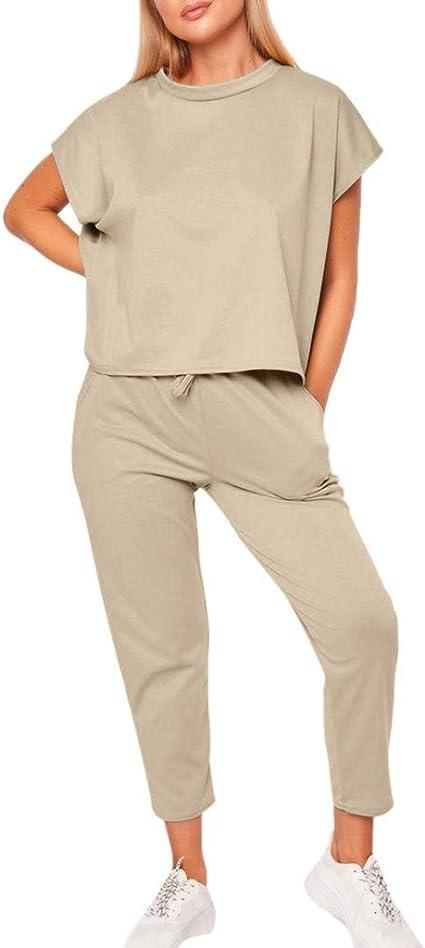 US Women Knit Crop Top Lounge Wear Suit Lady Tracksuit Set//2PCS Casual Long Pant