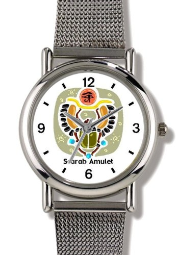 Scarab Magic Amulet - rolling the Sun across the sky Egyptian Theme - WATCHBUDDY ELITE Chrome-Plated Metal Alloy Watch with Metal Mesh Strap-Size-Small ( Children's Size - Boy's Size & Girl's Size )