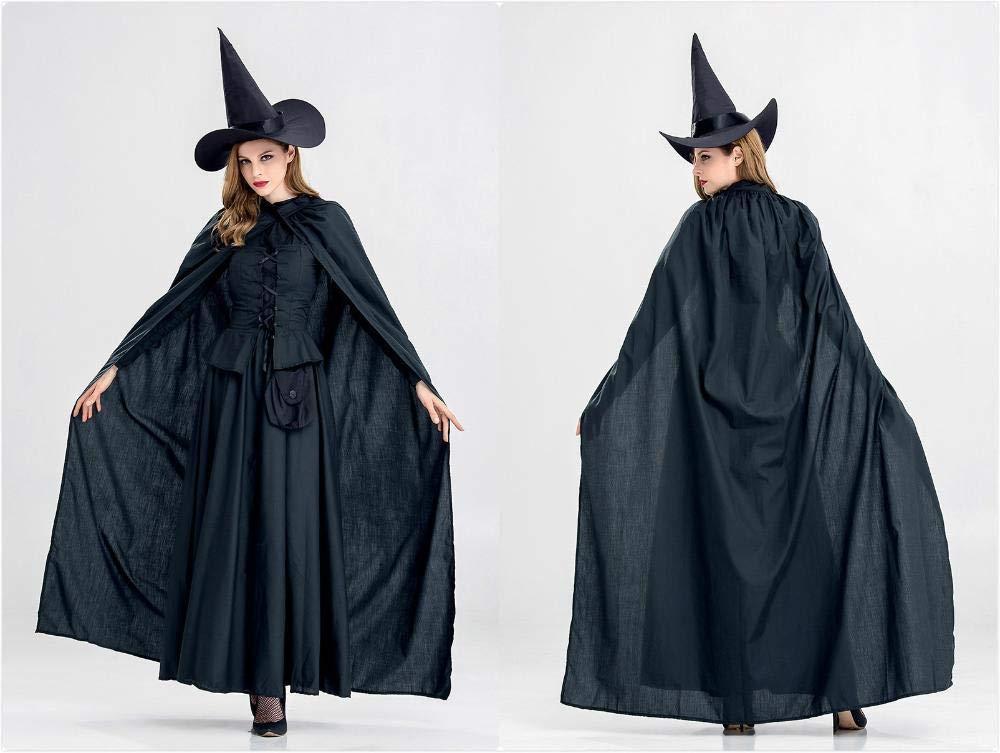 Olydmsky karnevalskostüme Damen Halloween schwarz Kostüm Langen Mantel Outfit Uniform Party Kostüm