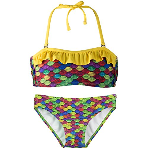Bandeau Bikini Set, Rainbow Reef Top, Rainbow Reef Bottom, Girl's Small