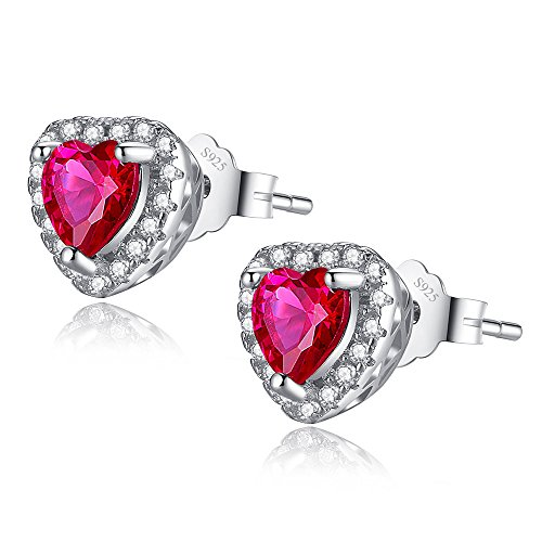 - MABELLA 925 Sterling Silver Jewelry Heart Shaped Simulated Ruby July Birth Month Earrings Studs for Women