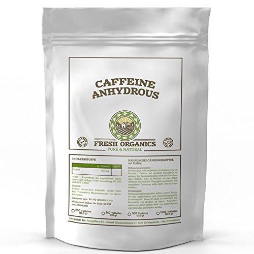 Koffein | 250 Tabletten á 200mg | Caffeine Anhydrous | 100% wasserfreies Koffein | Coffeinium | Natürlicher Wachmacher | Energie-Level & Stoffwechsel | Premium Qualität