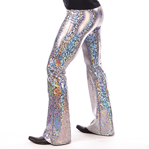 Holographic Disco Men's Flare Pants: USA Made Flared Bell Bottom Pants (Medium, Silver) -