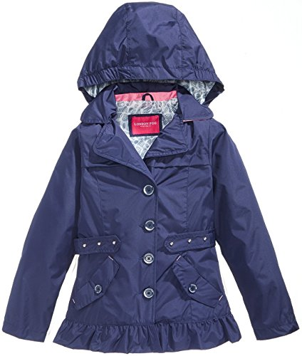London Fog Big Girls' Hooded Raincoat - Navy, 14-16