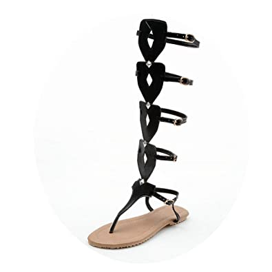 9c4a454ab7 AnMengXinLing Women Flat Gladiator Sandals Knee High Strappy Flip Flops  Casual Summer Shoes Thong Buckle Tall