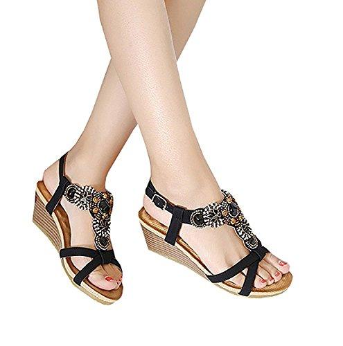Minetom Mujer Verano Elegante De Cuña Sandalias Con Cuentas Estilo Bohemio Chancletas Plataforma Peep Toe Zapatos Zapatillas Playa Negro