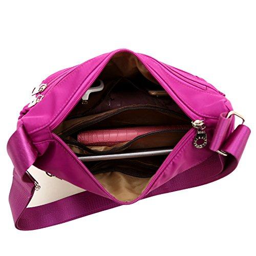 Travel Bags Crossbody Women Resistant BEKILOLE Weight Pocket Water Functional Multi Nylon for Purse Violet Light 5E5qHv