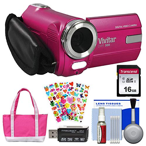 (Vivitar DVR-508 HD Digital Video Camera Camcorder (Pink) with 16GB Card + Bag + Stickers + Kit)