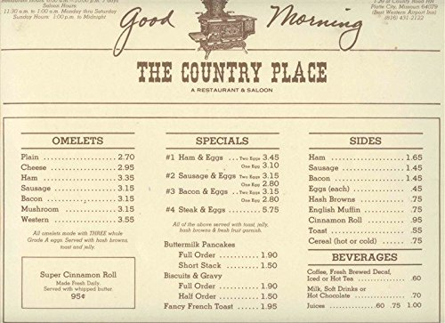 The Country Place Menu Placemat Plate City Missouri Best Western Airport (Inn Port)