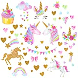 Unicorn Wall Stickers for Girls Boys Bedroom, Qkurt Large Vinyl Home Decal for Kids Living Room Bedroom Girls Room Décor