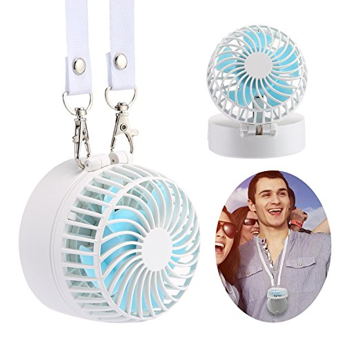 KOBWA Neck Fan, Mini Portable Outdoor Handheld Fan with Neck Strap, 180° Adjustable Desk Fan with Rechargable Battery & Make-up Mirror for Home Office Travel, White by KOBWA