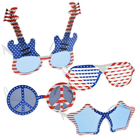 Patriotic 4th of July Novelty Sunglasses Pack of 4 including Stars, Stripes, Peace and Guitar Shapes
