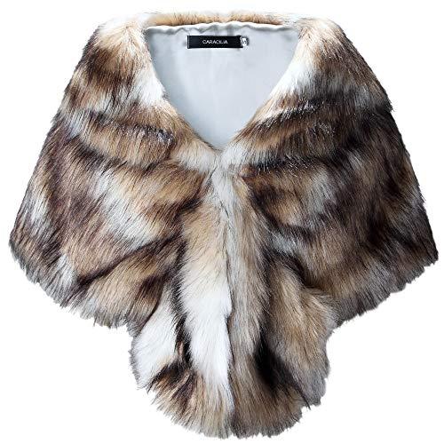 Rabbit Fox Fur Jacket - Caracilia Faux Fur Shawl Wrap Stole Shrug Winter Bridal Wedding Wrap Fox Mix L CA95
