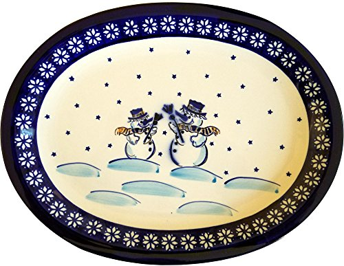 Pottery Christmas Plate (Polish Pottery Oval Christmas Platter with Snowman)