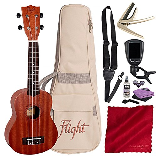 Flight NUS 310 Soprano Ukulele with Guitar Stand, Clip-on Tuner, and Deluxe Accessory Bundle