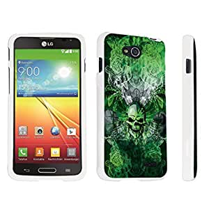 DuroCase ? LG Optimus L90 Hard Case White - (Skull Wings Green)