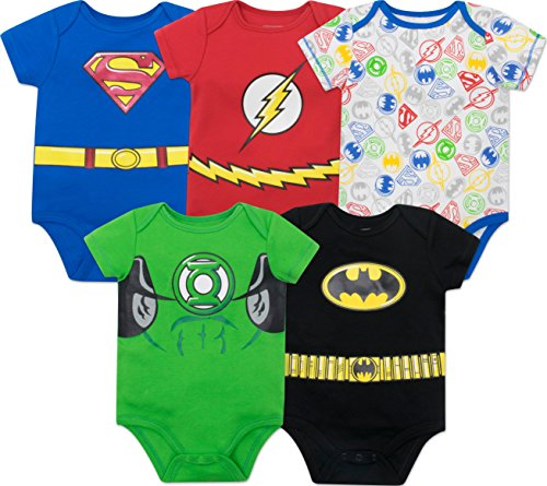 Warner Bros. Justice League Baby Boys' 5 Pack Superhero Onesies - Batman  Superman  The Flash and Green Lantern (6-9M)]()