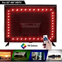 LED TV Backlight, LitSoul USB LED Strip Lights Bias Lighting for 32-60in Television, Neon Accent Bias Light for HDTV 4 Sides, Monitor Backlight with RF Remote Controller & Strong adhesive Tape, 6.56ft