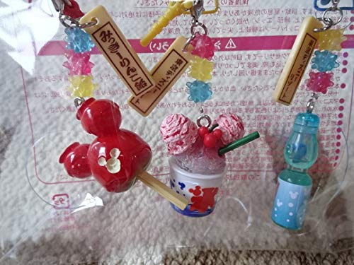 東京ディズニーリゾート お祭り 食べ物 ストラップ 3コセット かき氷 りんごあめ ラムネ イヤホンジャック付きの商品画像