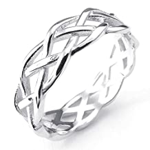 Konov Jewelry 925 Sterling Silver Celtic Knot Wedding Band Womens Ring, Silver