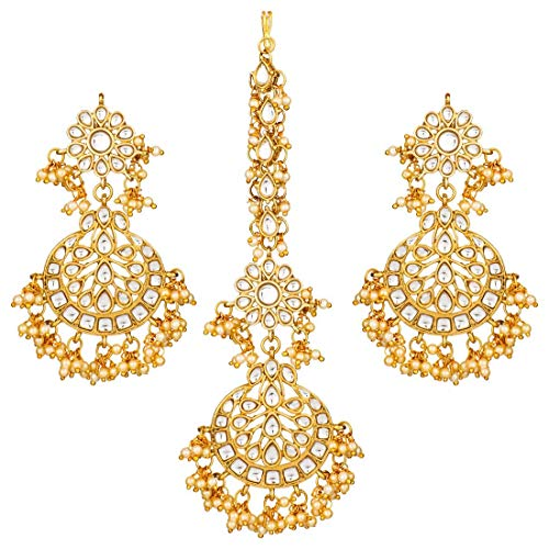 Aheli Indian Traditional Designer Dangle Earrings Maang tikka Set Bollywood Ethnic Wedding Party Jewelry for Women