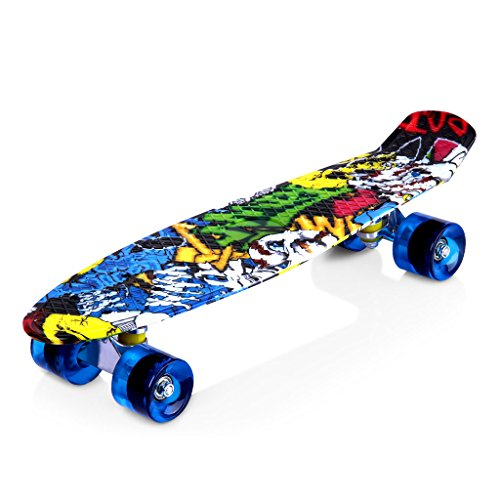 ENKEEO Complete Mini Cruiser Penny Skateboard 22 inch with Sturdy Old...