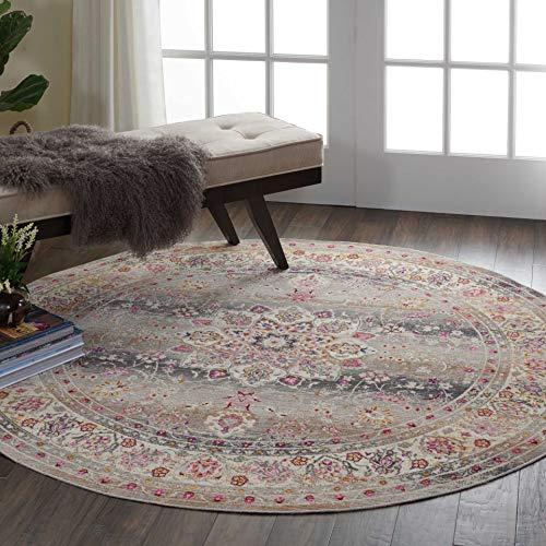 (Nourison VKA01 Vintage Kashan Multicolor Oushak Area Rug, 6'X6'Round, Grey)