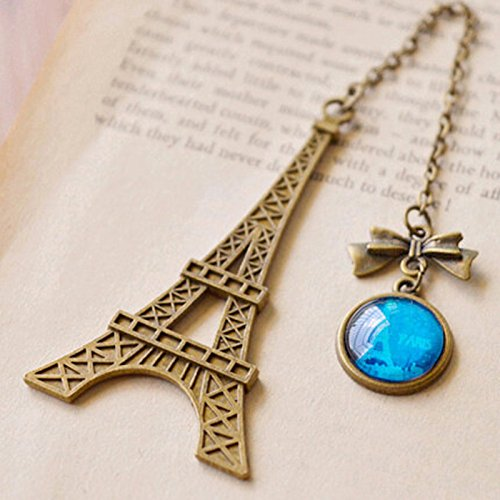 Katoot@ Vintage Eiffel Tower bookmark for books Creative Glass Gemstone Pendant peag holder gift stationery school office supply Escolar