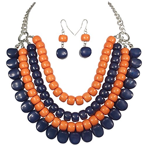 4 Row Layered Bib Bubble Statement Silver Tone Necklace & Earrings Set (Orange & Navy - Necklace Statement Orange