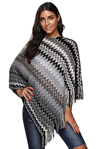 Leoparts Women's Batwing Knitted Tassel with Multicolor Wave Pattern Cloak Poncho Pullovers (Free Fleece Poncho Patterns)