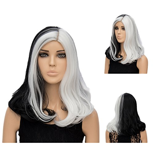 Netgo Black and White Cosplay Wig Meduim Length Wavy Lolita Style Two Tone Wig for Costume Party