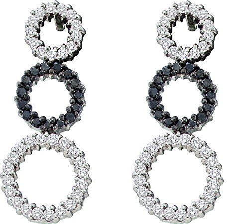 14kt White Gold Womens Round Black Colored Diamond Triple Circle Earrings 3/4 Cttw