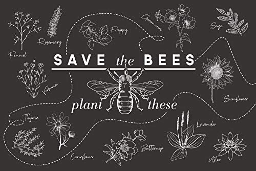 Save the Bees - Plant These 95440 (9x12 Art Print, Wall Decor Travel Poster)