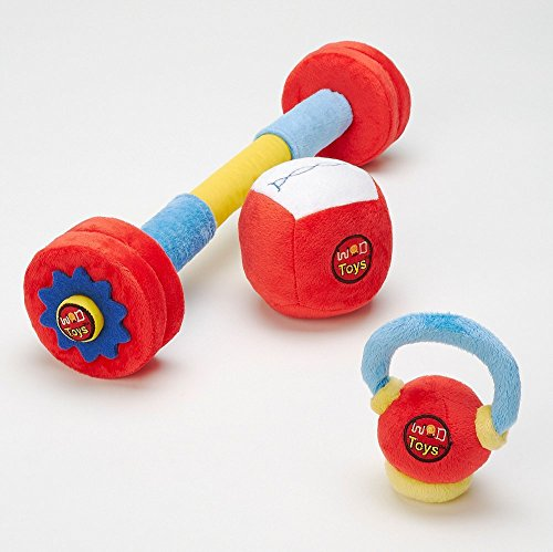 Baby Barbell - WOD Toys Baby Complete Plush Set with Rattle - Safe, Durable Fitness Toys for Newborns, Infants and Babies