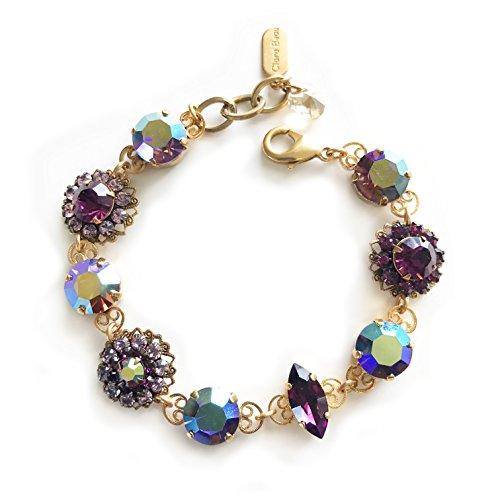 (Clara Beau Lovely Purple Aurore Boreale Swarovski Crystal Mosaic GoldTone Filigree Bracelet B68 Mod)