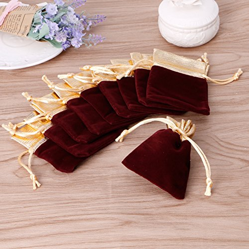 Best-topshop 10pcs Velvet Drawstring Pouches Jewelry Party Wedding Christmas Favor Gift Bags (1, Burgandy)
