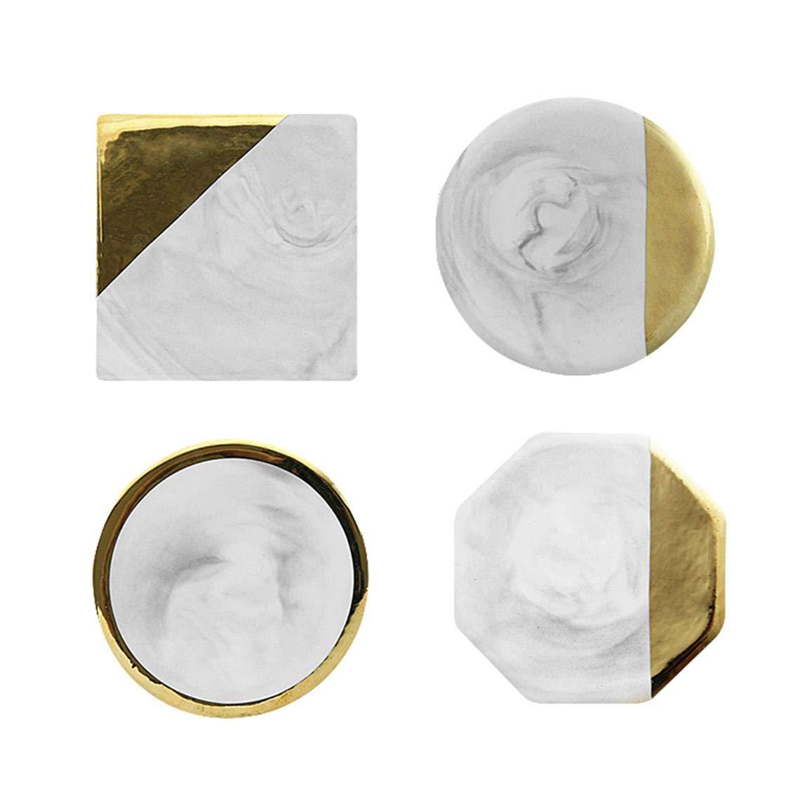 Autek 4pcs Premium Marble Coasters Ceramic Art Coasters Gold Edge White Polished Coasters for Drink Tea and Coffee Set