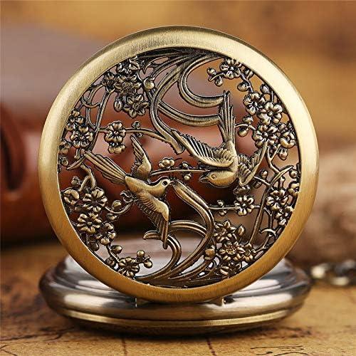 HBDML Montre de Poche Magpie Watches Pendant for Women Ladies Girls Friends Flower Case Fine Mechanical Pocket Watch Nursing Watches Gifts