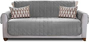 Gorilla Grip Original Velvet Slip Resistant Large Sofa Protector for Seat Width up to 70 Inch, Patent Pending Furniture Slipcover, 2 Inch Straps, Couch Slip Cover Throw for Pets, Dogs, Sofa, Gray