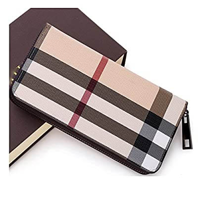Women's Hand Woven Zip Around Leather Wallet Long Clutch Purse (plaid)