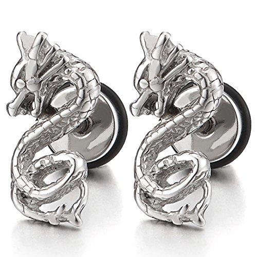 - Stainless Steel Pair Mens Boys Dragon Stud Earrings, Screw Back