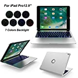 iPad Pro 12.9 Bluetooth Keyboard Slim Aluminum 7 Colors Backlight Wireless Keypad with Protective Case Cover Stand(silver)