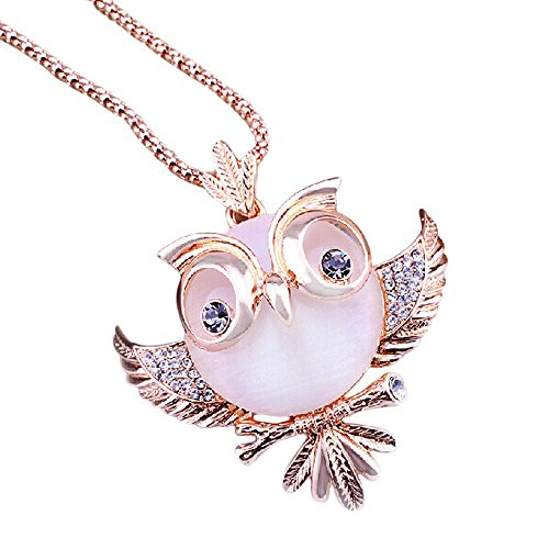 (Geetobby Rose Gold/Silver Plated Cat's Eye Stone Retro Antique Alloy with Rhinestone Crystal Owl Pendant Necklace Long Necklace)