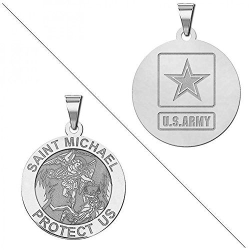 Saint Michael Doubledside ARMY Religious Medal - 3/4 Inch Size of a Nickel - Sterling Silver