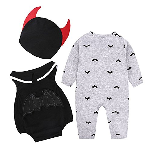 Vampire Outfits (Arloesi Baby Boys' 3 Pieces Halloween Vampire Bodysuit+Romper with Hat (0-6 Months, Grey))