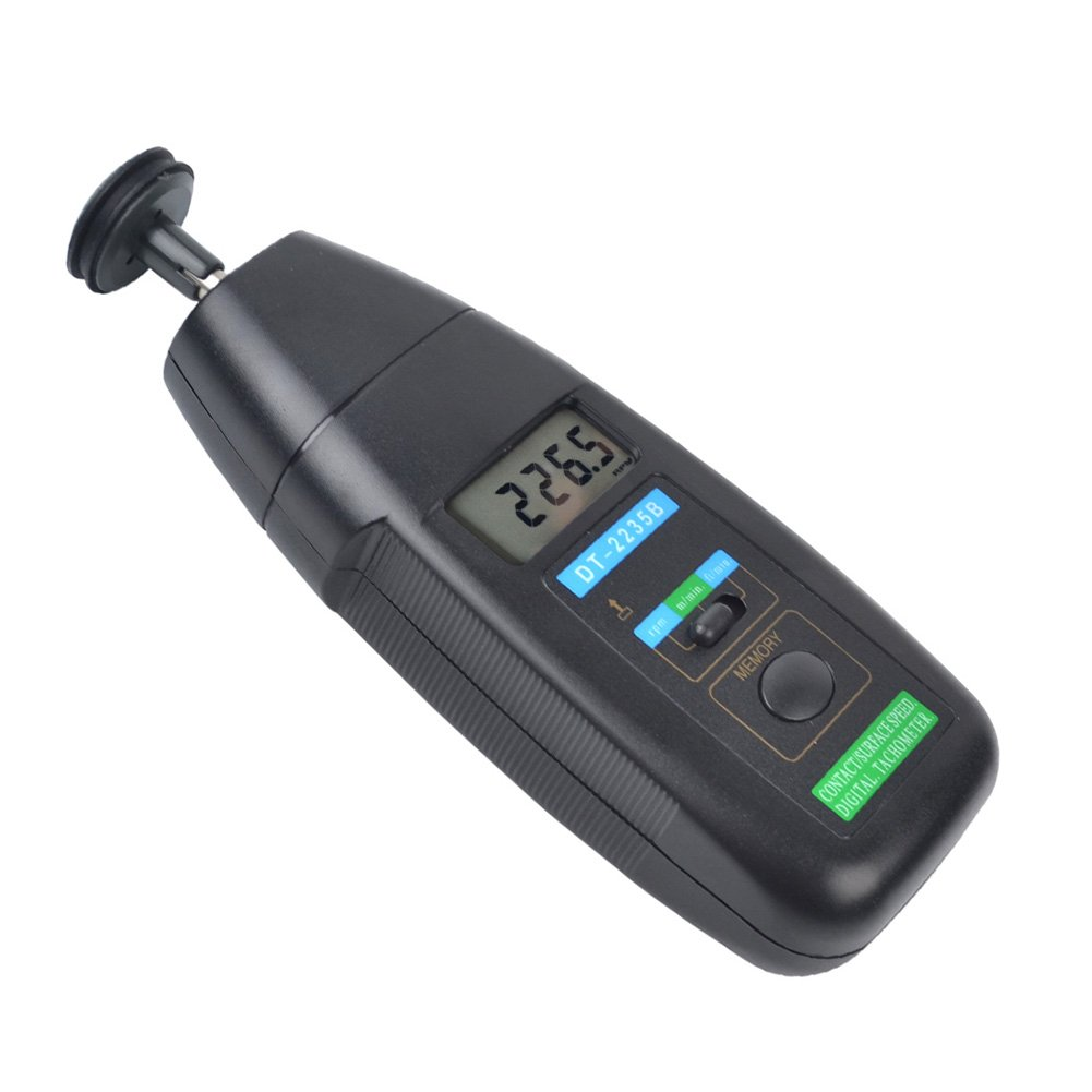 Ckeyin ® Contact Tachometer 3-Mode Adjustable Handheld Digital display Rotation RPM Meter Tachometer with Wheel Tachometer