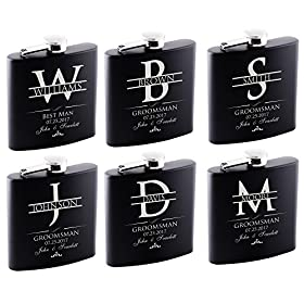 P Lab Groomsman Gifts For Wedding Optional Set of 6 or Only 1-6oz Hip Flask Customized, Black #2