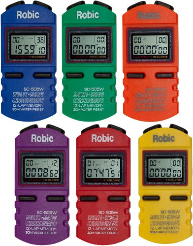 Robic SC-505W 12 Memory Stopwatch (Pack of 6), Assorted Colors by Robic