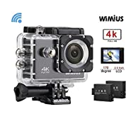 WiMiUS 4K Action Camera 16MP Waterproof 40M WiFi Sport Camera 170 Degree Wide Angle with 2 Batteries and Accessories,Black